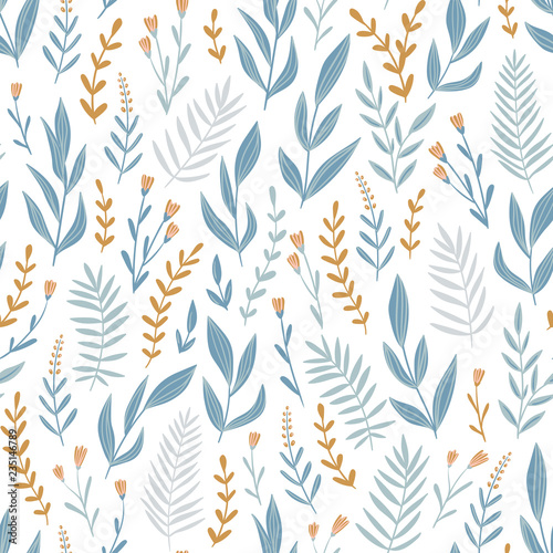 Light blue seamless pattern with  herbs and flowers. Romantic floral background. Fabric design. Vector illustration. © Utro na more