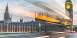Westminster Bridge with car light trails at night, London