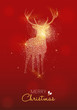 Merry Christmas gold deer glitter greeting card - 235163130