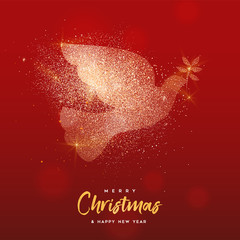 Christmas and New Year gold glitter bird card © cienpiesnf