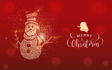 Christmas gold glitter snowman greeting card © cienpiesnf