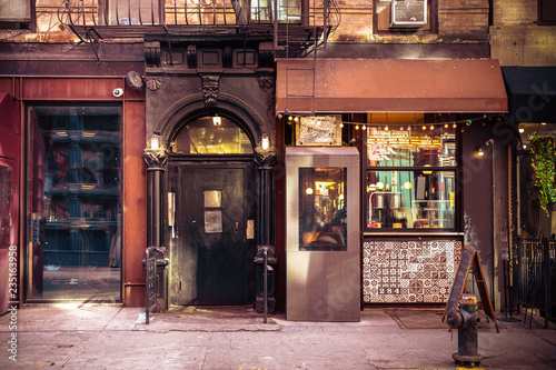 fototapeta na ścianę Storefronts from old New York City building exterior