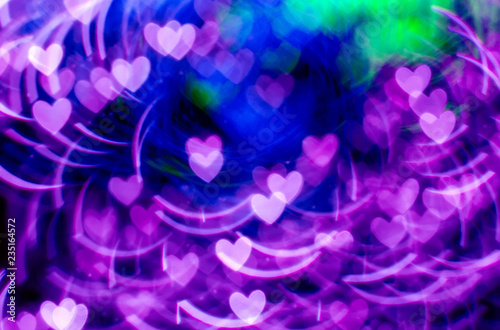 Hearts shape Christmas light bokeh background. - 235164572