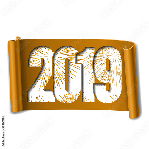 happy new year card white number 2019 gold firework scroll 3d isolated white background