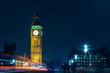 London Big Ben At Night Light Trails