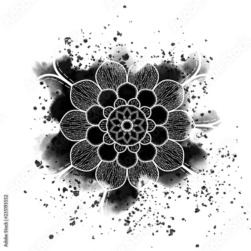 Abstract mandala graphic design and watercolor digital art painting for ancient geometric concept background - 235193552
