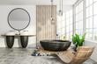 Leinwanddruck Bild - White loft bathroom interior, armchair
