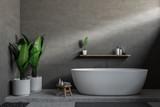 Gray bathroom, white tub