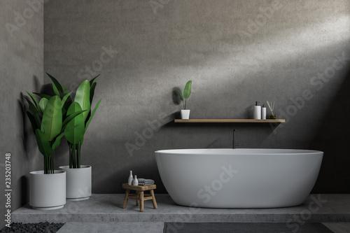 Leinwandbild Motiv Gray bathroom, white tub