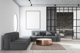 Living room with gray sofa and poster - 235203944