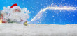 Leinwanddruck Bild - Santa Claus in the snow with stardust, Banner