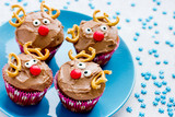 Funny christmas reindeer cupcakes delicious gift for kids for xmas new year holidays - 235212762
