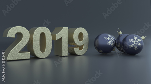 3D Render of Christmas and new year background