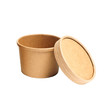 Brown paper cup with lid for soup isolated on white background