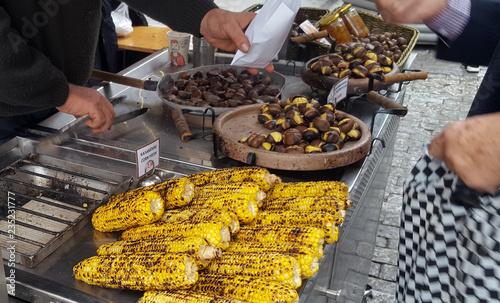 A vendor sell roasted corn and chestnuts in the Monastiraki square