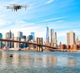 Drone flying over Brooklyn Bridge, New York