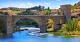 Tajo river in toledo city bridge of Spain