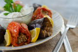 Turkish cuisine - DOLMA - Homemade  stuffed dried eggplant  and red pepper,