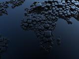 3D render - Earth globe cubes concept