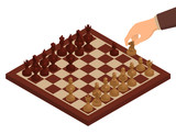 Chess. Chessboard, chessmen on it and hand holding chess knight. Isometric vector illustration