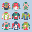 Christmas holiday cute ugly sweater elements set