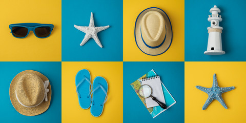 Travel holiday vacation minimal concept with beach items.