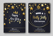 Holly Jolly Christmas and Happy New Year festive poster or invitation card templates. - 235339176