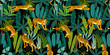 Seamless exotic pattern with tigers in the jungle. - 235342937