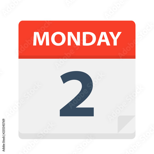 Monday 2 - Calendar Icon. Vector illustration of week day paper leaf.