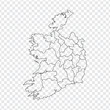 Blank map Ireland. High quality map Ireland with provinces on transparent background for your web site design, logo, app, UI. Stock vector. Vector illustration EPS10. - 235355945