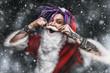Leinwanddruck Bild - cool punk santa