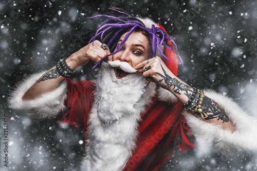 Leinwanddruck Bild cool punk santa