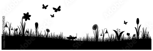 Frühling Ostern Silhouette - 235364563