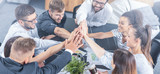 Happy business people team giving high five in office. - 235367950