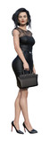 3d Illustration of a  businesswoman wearing a black lace and matching high heels holding a small case isolated on a white background. - 235368398