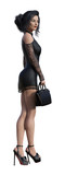 3d Illustration of a  businesswoman wearing a black short lace dress and high heels holding a small case isolated on a white background. - 235370523