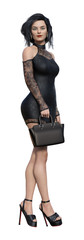 3d Illustration of a  businesswoman wearing a short lace dress and black high heels holding a small case isolated on a white background. © Bert Folsom
