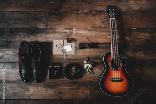 Guitar and wedding accessories of the groom - 235374961