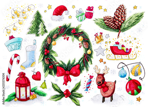Christmas symbols sticker set isolated on white hand drawin illustration © dark_blade