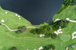 aerial view drone shot of beautiful golf field.