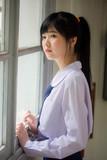 Portrait of thai high school student uniform teen beautiful girl happy and relax - 235385916