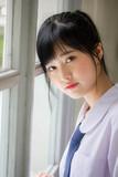 Portrait of thai high school student uniform teen beautiful girl happy and relax - 235385969