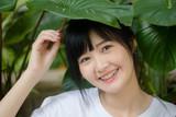asia thai japanese teen teen White t-shirt beautiful girl happy and relax - 235387158