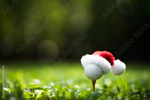 Leinwanddruck Bild Festive-looking golf ball on tee with Santa Claus' hat on top for holiday season on golf course background