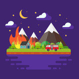 Spring/summer trendy landscape in flat design, trees, sun, clouds, mountains, fire and fire machine. Concept of fire in the wood. Night flat vector illustration.