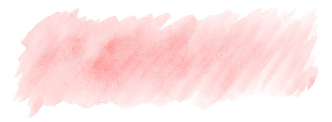 Light red, pink watercolor hand-drawn isolated wash stain on white background for text, design. Abstract texture made by brush for banner, label. © ss404045