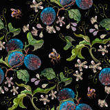 Embroidery blossoming plum and flowers on black background. Template fashionable clothes, t-shirt design - 235405769