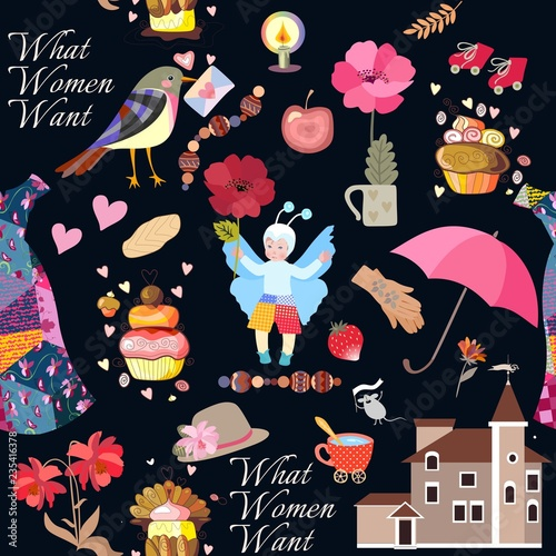 fototapeta na ścianę Seamless print for fabric with cute baby in butterfly costume, house, bird with envelope, hearts, flowers, umbrella, roller skates, hat, dress, gloves, cup of tea, cakes, lettering