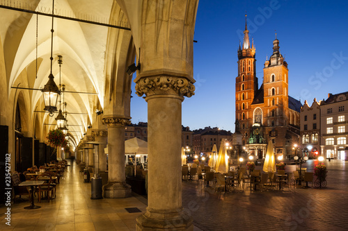 Old Town of Krakow City by Night in Poland