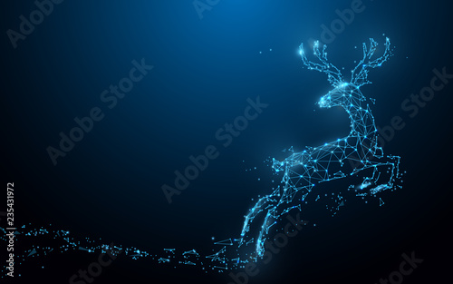 Reindeer form lines, triangles and particle style design. Illustration vector